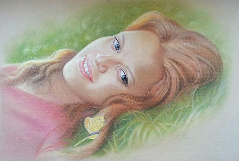 Настоящий портрет пастелью для любимой девушки в Набережных Челнах, просто и со вкусом!