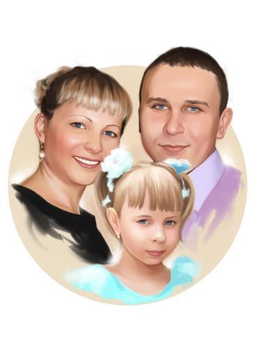 Семейный портрет по фото на холсте в Набережных Челнах — правильный подарок!
